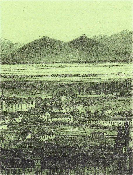 An old drawing of Ljubljana with Šmarna gora in the background. Source: Dušica Kunaver